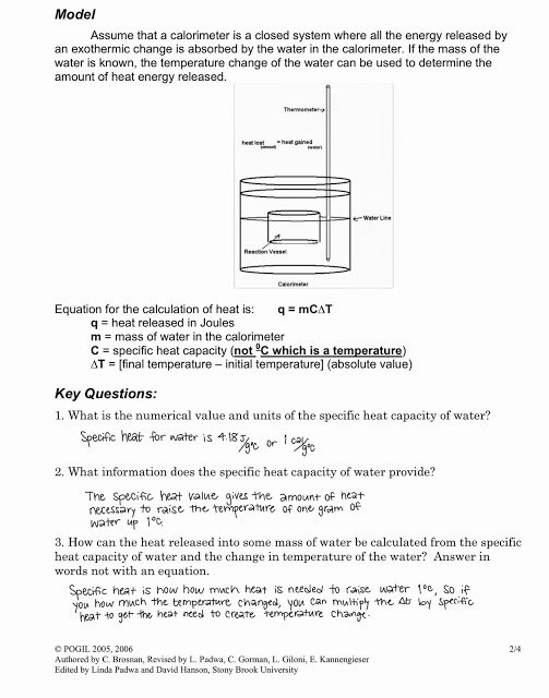 Calorimetry Worksheet Answer Key Awesome Equation for Calorimetry Tessshebaylo