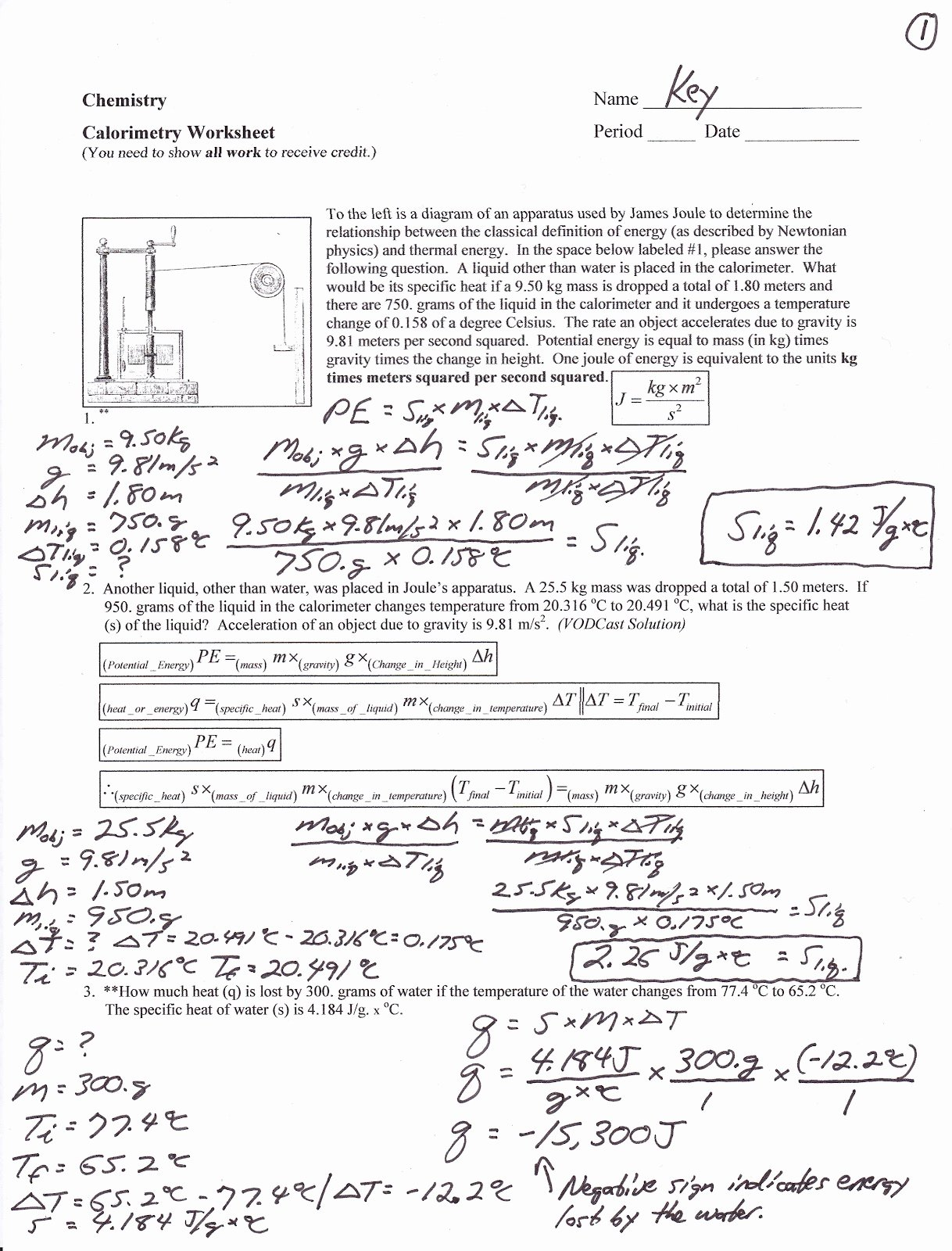 Calorimetry Worksheet Answer Key Awesome Mr Brueckner S Chemistry Class 2012 2013 Frompo