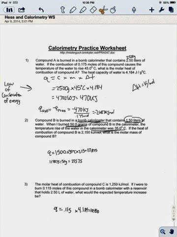 Calorimetry Worksheet Answer Key Beautiful Calorimetry Worksheet