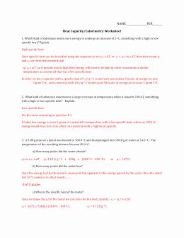Calorimetry Worksheet Answer Key Fresh Calorimetry Worksheet