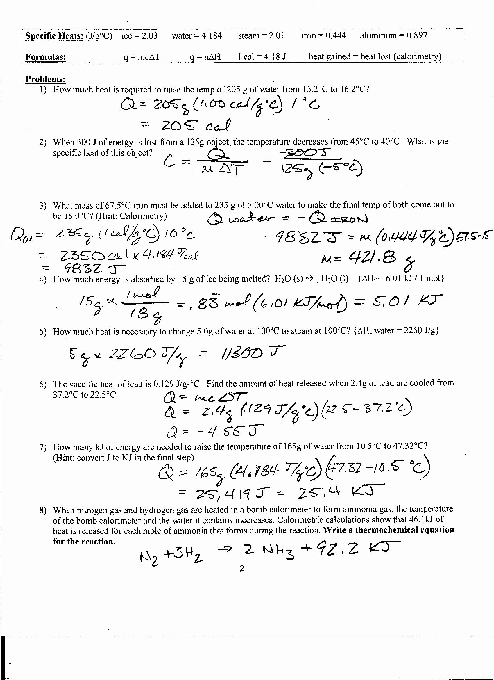 Calorimetry Worksheet Answer Key Luxury Foothill High School