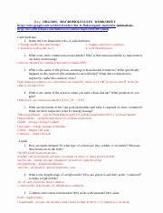 Carbon Cycle Worksheet Answers Inspirational Macromolecule Worksht Answers Key organic