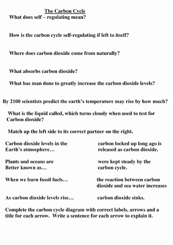 Carbon Cycle Worksheet Answers Luxury Carbon Cycle Worksheet Questions Match Up Activity by