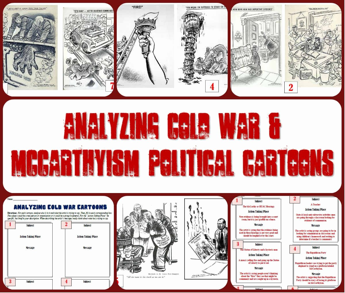 Cartoon Analysis Worksheet Answer Key Awesome Analyzing Cold War & Mccarthyism Political Cartoons