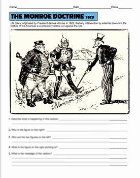 Cartoon Analysis Worksheet Answer Key Awesome Monroe Doctrine Political Cartoon Analysis by Kate S Crib