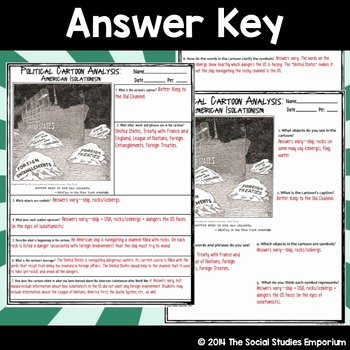 Cartoon Analysis Worksheet Answer Key Awesome Political Cartoon Analysis Activity American isolationism