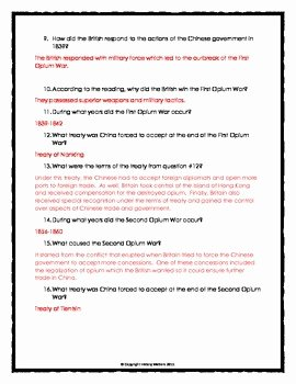 Cartoon Analysis Worksheet Answer Key Best Of Imperialism In China Opium Wars Reading Questions and