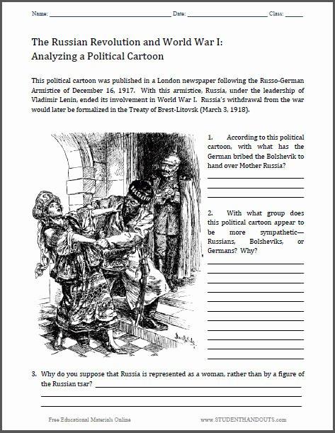 Cartoon Analysis Worksheet Answer Key Fresh Treaty Of Brest Litovsk Political Cartoon Worksheet
