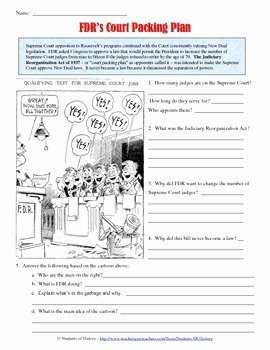 Cartoon Analysis Worksheet Answer Key New Franklin D Roosevelt Court Packing Cartoon Analysis by