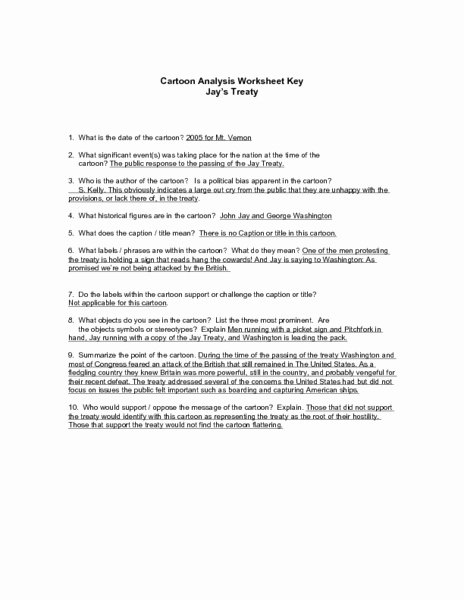 Cartoon Analysis Worksheet Answers Luxury Cartoon Analysis Worksheet Key Jay's Treaty Worksheet for