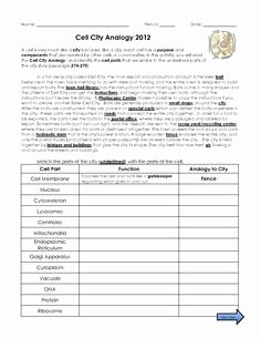 Cell City Analogy Worksheet Answers Awesome Pin by Melissa Demers Gallagher On 7th Grade Life Science