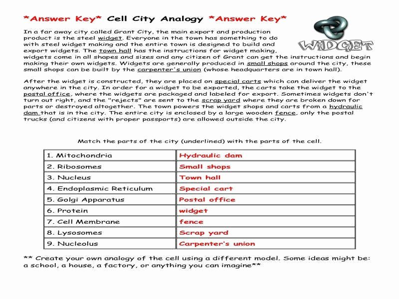 Cell City Analogy Worksheet Answers Beautiful Cell City Analogy Worksheet