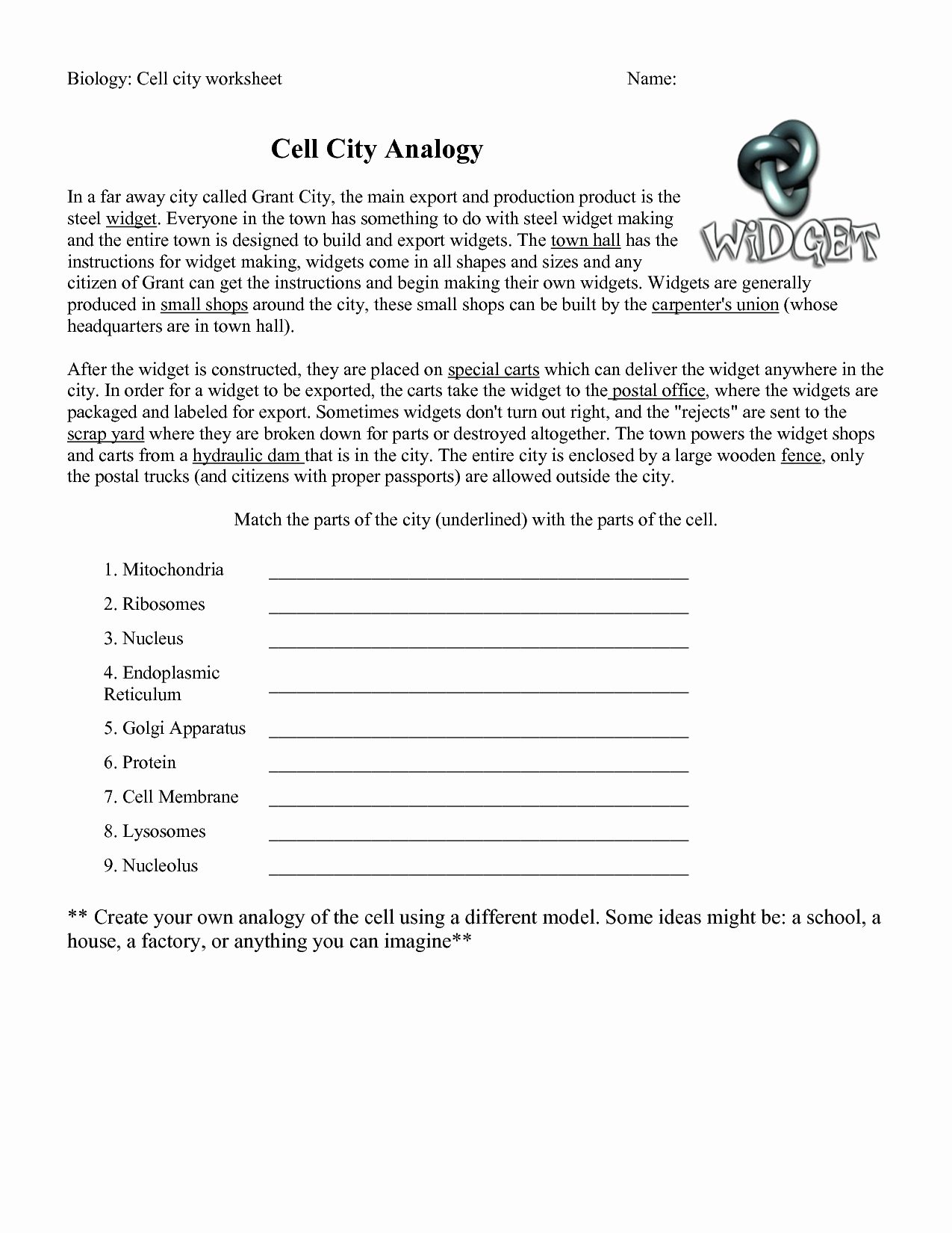 Cell City Analogy Worksheet Answers Elegant 18 Best Of Biology Cells Worksheets Answer Keys