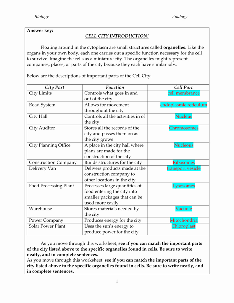 Cell City Analogy Worksheet Answers Fresh Biology Analogy 1 Answer Key Cell City Introduction