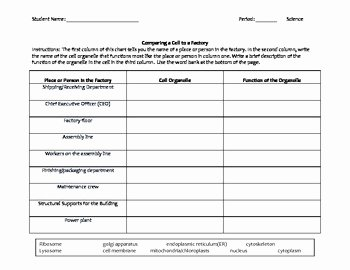 Cell City Analogy Worksheet Answers Lovely Free Middle School Biology and Literacy Worksheet Cell