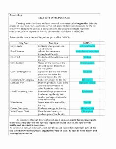 Cell City Analogy Worksheet Answers Luxury 11 Best Cell City Images