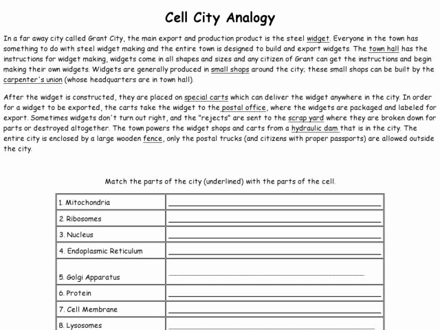 Cell City Analogy Worksheet Answers New 18 Best Of Cell City Worksheet Answer Key Cell