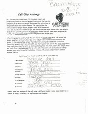 Cell City Analogy Worksheet Elegant Cell City Analogy Worksheet Cell City Analogy In A for
