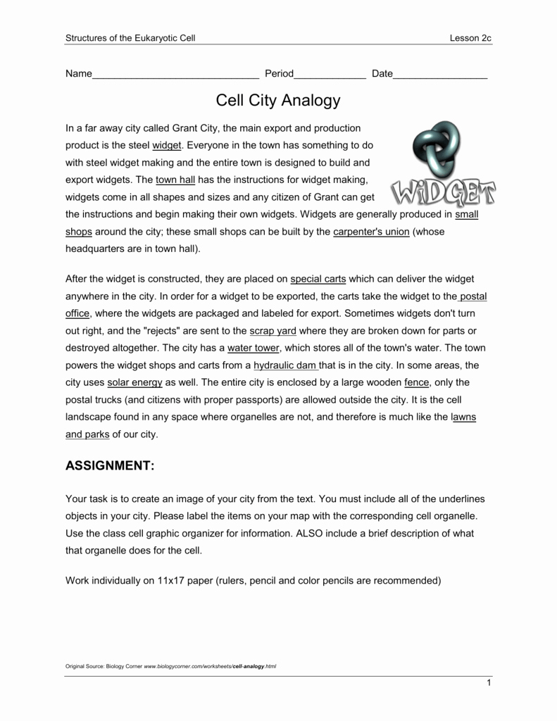 cell city analogy worksheet wid answer key