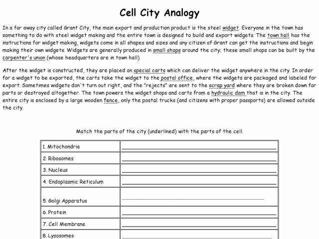 Cell City Analogy Worksheet Luxury Cell organelles Worksheet Answers