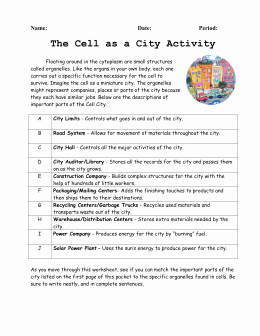 Cell City Analogy Worksheet Unique Cell City Analogy Worksheet the Best Worksheets Image