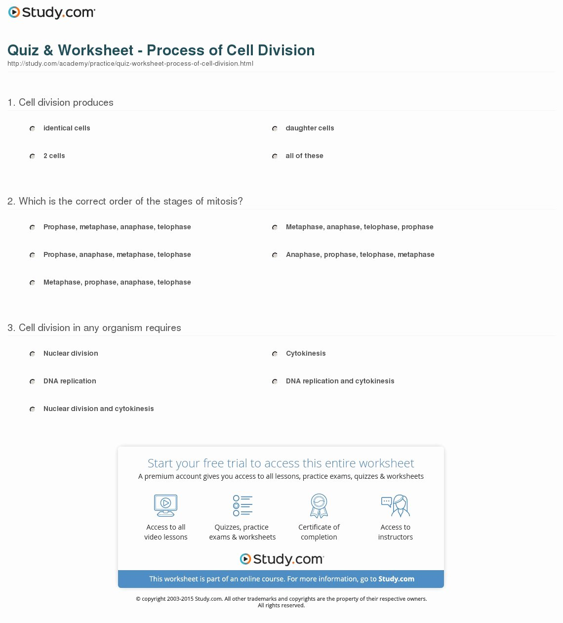 Cell Division Worksheet Answers Unique Worksheet Section 10 2 Cell Division Worksheet Answers