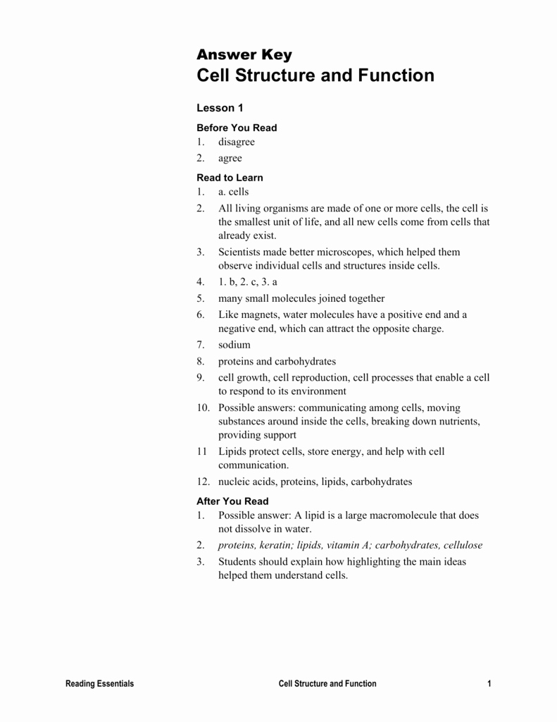 Cell Structure and Function Worksheet Luxury Cells the Units Life Worksheet Answers Chapter 2