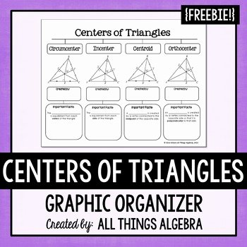 Centers Of Triangles Worksheet Awesome Centers Of Triangles Graphic organizer by All Things
