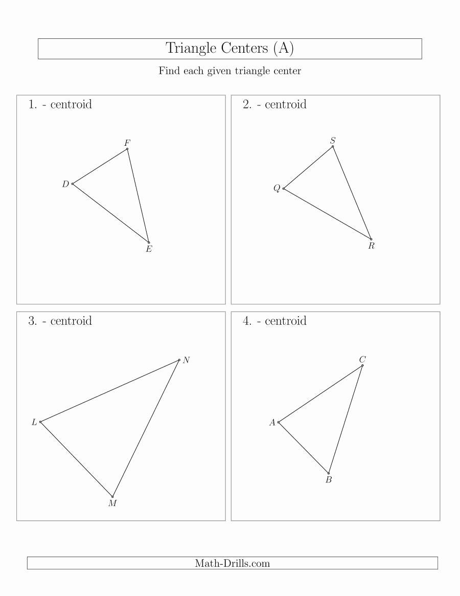 Centers Of Triangles Worksheet Awesome Contructing Centroids for Acute Triangles A