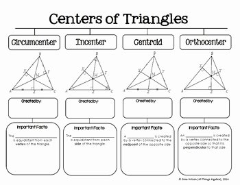 Centers Of Triangles Worksheet Beautiful Centers Of Triangles Graphic organizer by All Things