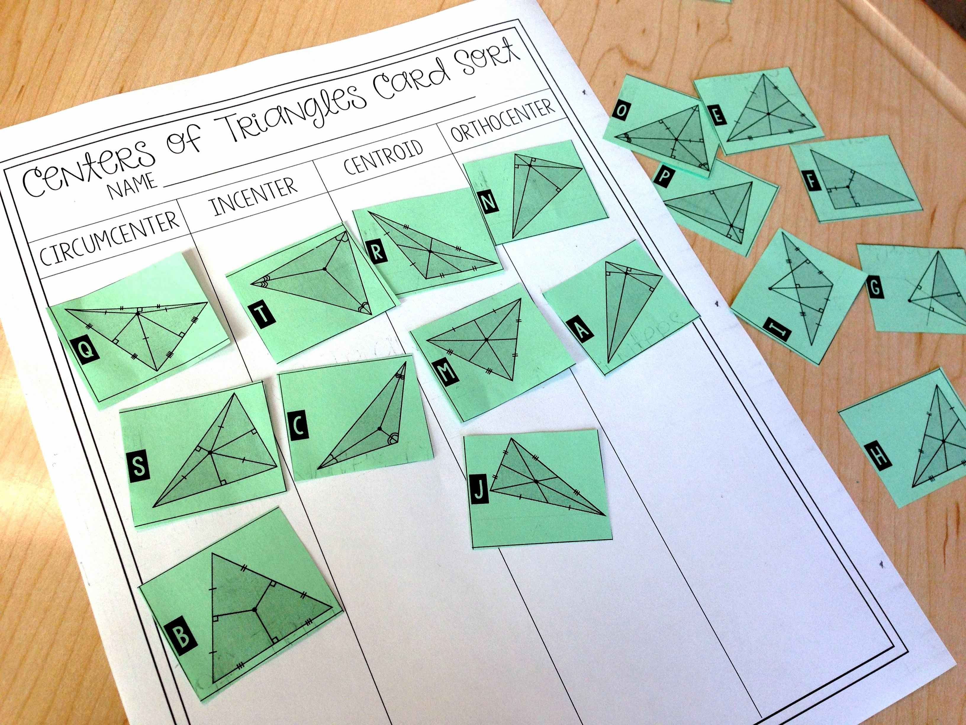 Centers Of Triangles Worksheet Best Of Centers Of Triangles Card sort