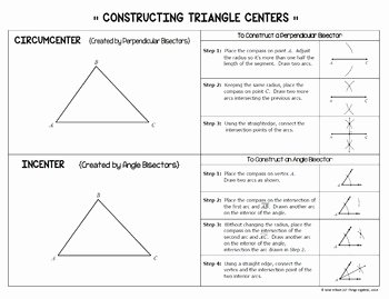 Centers Of Triangles Worksheet Fresh Centers Of Triangles Task Cards Includes Constructions