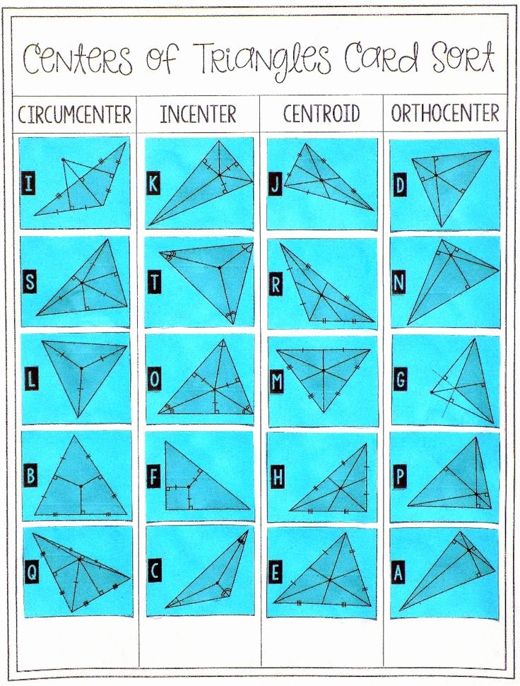 Centers Of Triangles Worksheet Unique Centers Of Triangles Card sort