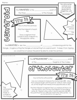 Centers Of Triangles Worksheet Unique Centers Of Triangles Doodle Notes by Math Giraffe