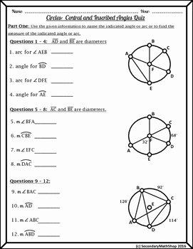 Central and Inscribed Angle Worksheet Awesome Circles Central and Inscribed Angles Quiz by Secondary