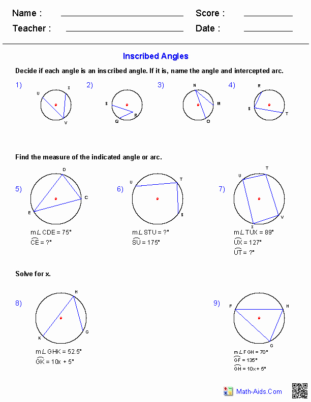 Central and Inscribed Angle Worksheet Awesome Geometry Worksheets