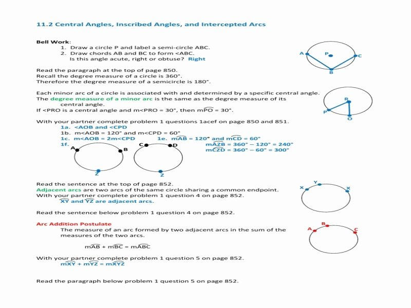 Central and Inscribed Angle Worksheet Inspirational Central and Inscribed Angles Worksheet Free Printable