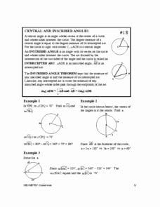 Central and Inscribed Angle Worksheet Lovely Central and Inscribed Angles 10th Grade Worksheet