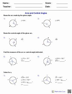 Central and Inscribed Angle Worksheet Luxury Working with Arcs and Central Angles Worksheets
