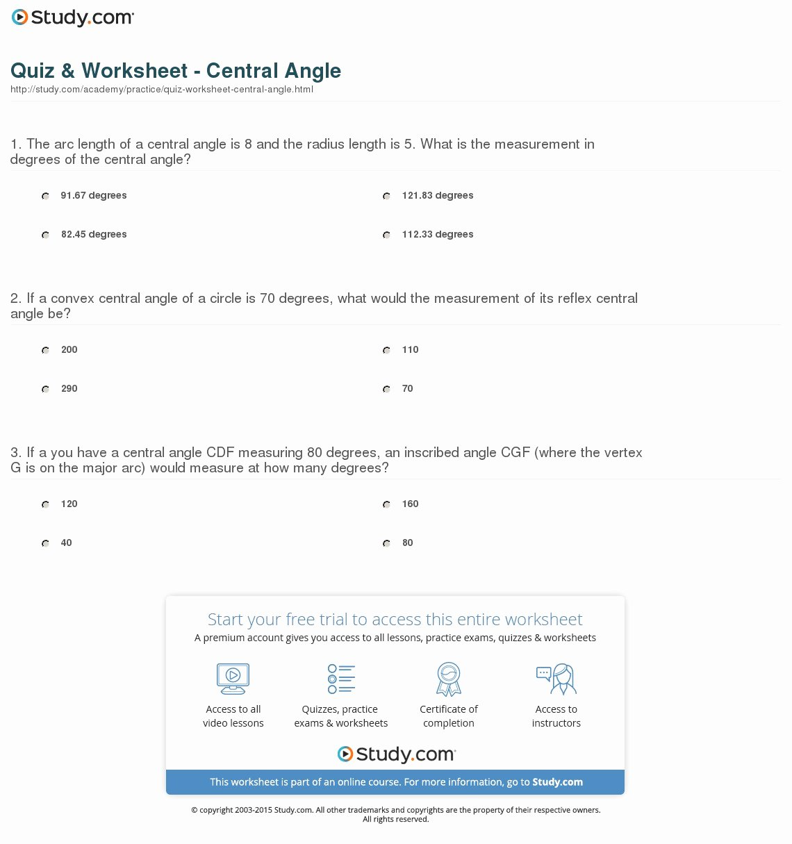 Central and Inscribed Angle Worksheet Unique 10 2 Measuring Angles and Arcs Worksheet Answers