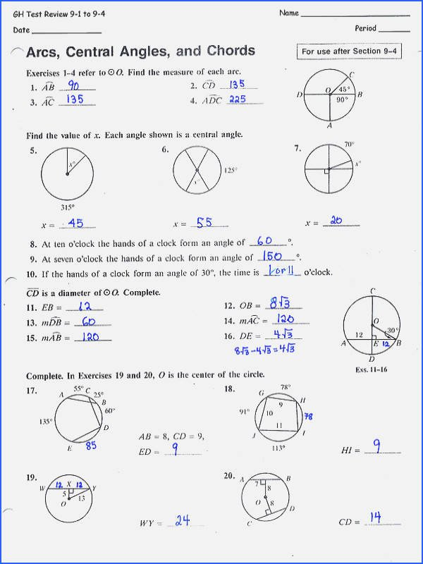 Central and Inscribed Angle Worksheet Unique Central Angles and Inscribed Angles Worksheet Answer Key