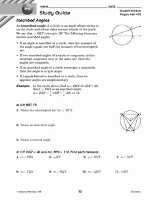 Central and Inscribed Angle Worksheet Unique Inscribed Angles Worksheet for 10th Grade