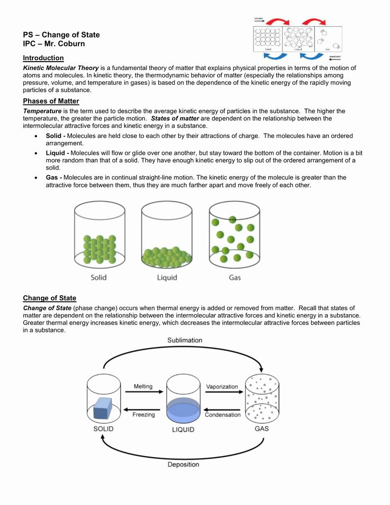 Change In Matter Worksheet Fresh Phase Changes Worksheet