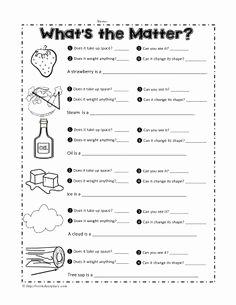 Change In Matter Worksheet Fresh Properties Of Matter Worksheet 1