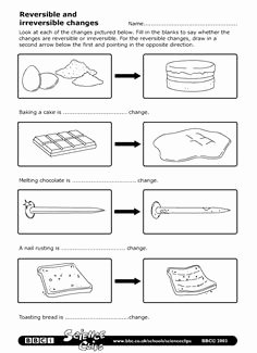 Change In Matter Worksheet Inspirational 1000 Images About Science Reversible and Irreversible