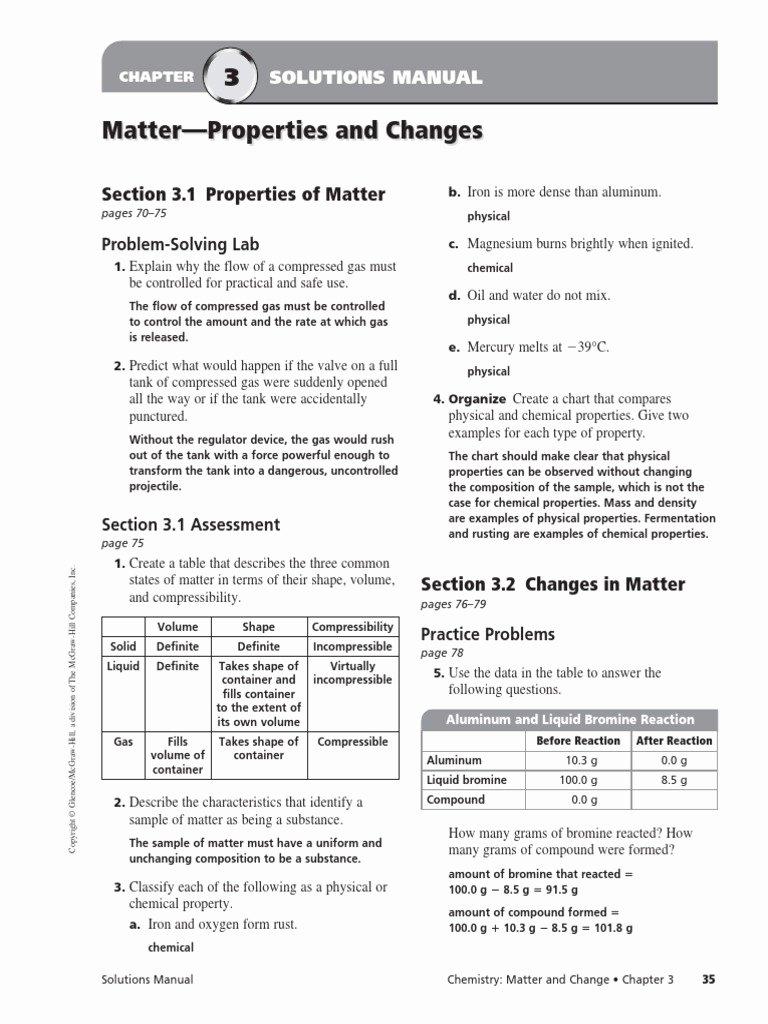 Change In Matter Worksheet Unique Chapter 3 assessment Mixture