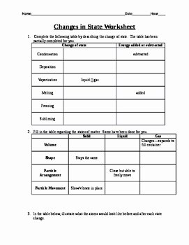 Change Of State Worksheet Beautiful Changes In State Worksheet by Rush Rocks Physics
