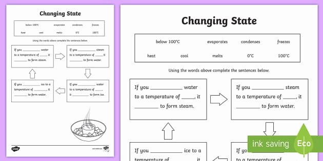 Change Of State Worksheet Fresh Changing States Ice Water Steam Worksheet Changing States
