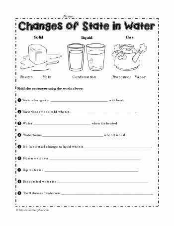 Change Of State Worksheet Lovely Changes Of State In Water Worksheets