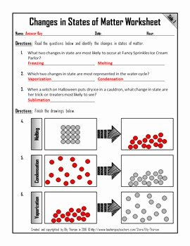 Change Of State Worksheet New Changes In States Of Matter Worksheet by Elly Thorsen